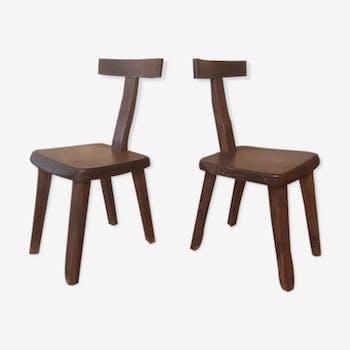 Ensemble paire de chaises en orme par Olavi HANNINEN