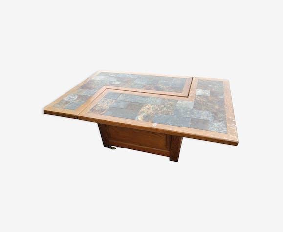 Table basse à système en chêne et schiste ouvrant sur un bar vers 1980