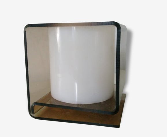 lampe poser cube plexiglass fum space age french design plastique marron design 31011. Black Bedroom Furniture Sets. Home Design Ideas