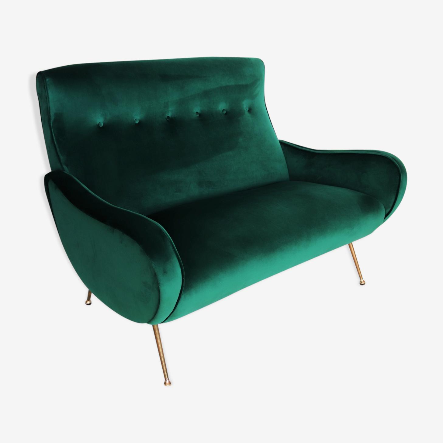 Italian mid-century sofa in green velvet and brass, 1950s