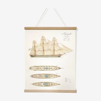 Planche en couleurs représentant la Nymphe, navire construit en 1865
