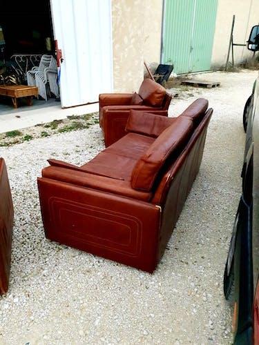 Canapé 2 places et 2 fauteuils en cuir Italien