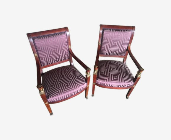 Pair of 18th century Empire style armchairs, upholstered for new