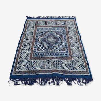 Berber carpet handmade in pure wool blue 120 x 164 cm