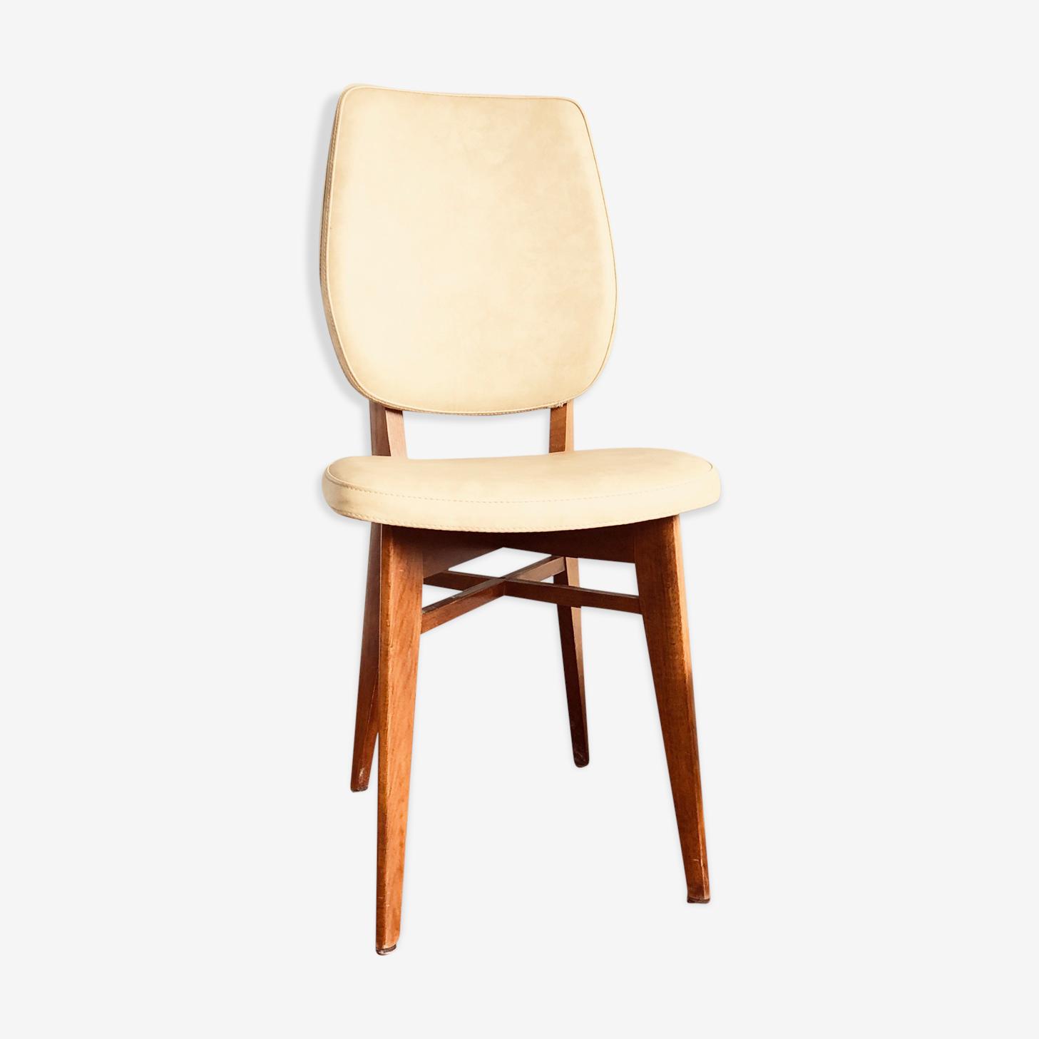 Chaise vintage bois et skaï années 1958