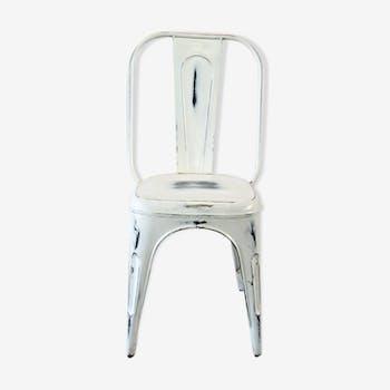 Chaise industrielle vintage blanc patiné