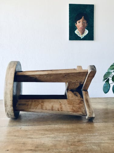 Tabouret de ferme en bois