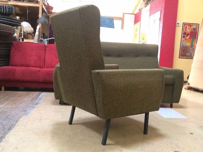 Ensemble canapé 3 places convertible et fauteuil vintage français années 60