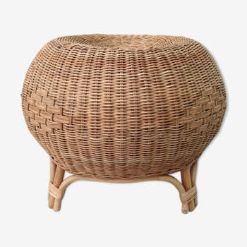 repose pied pouf ottoman en rotin et osier vintage d 39 occasion. Black Bedroom Furniture Sets. Home Design Ideas