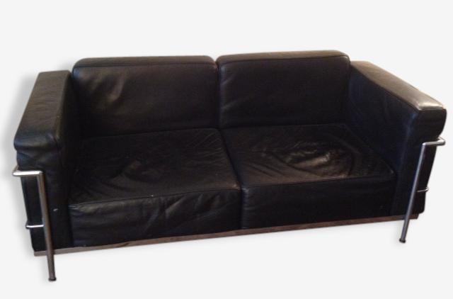 Canapé cuir noir et tubulures acier 1999