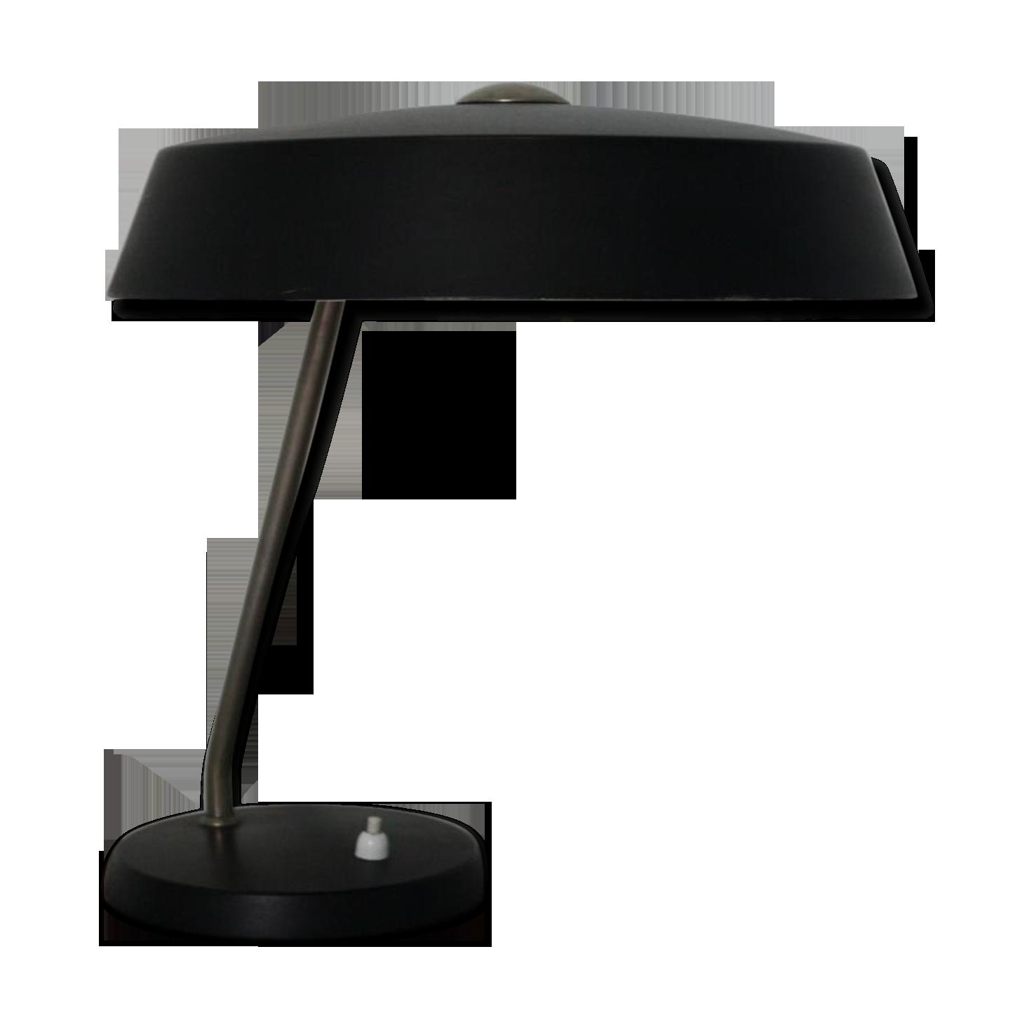 Lampe de bureau noire vintage par louis kalff pour philips s