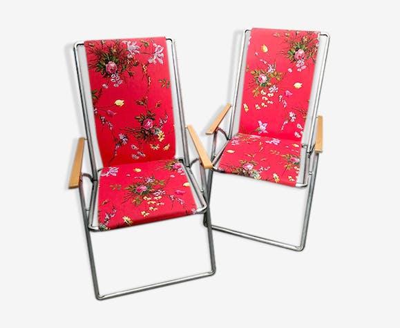Paire de fauteuil transat vintage fleuris
