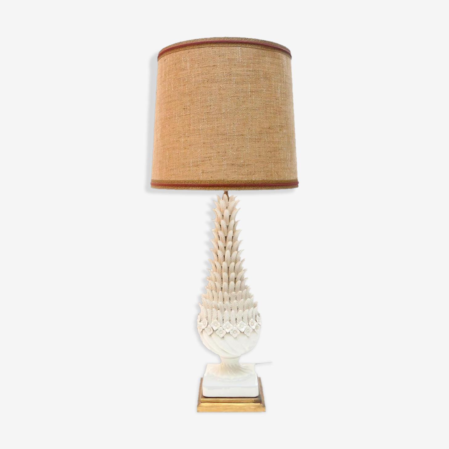 Lampe en porcelaine et en laiton France 1950s
