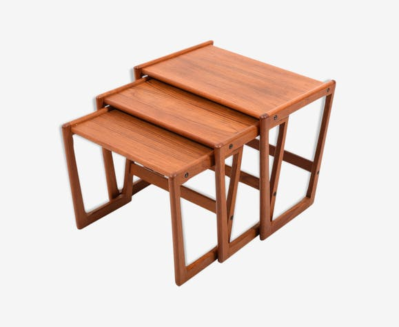 Danish teak wooden pull out tables by Georg Jensen