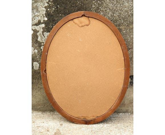 Miroir ovale cadre en bois 68 x 54 cm