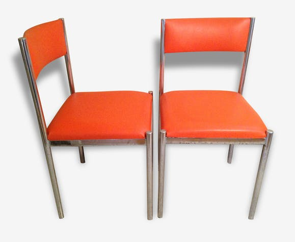 chaises cuir orange collomb creation pied metal vintage. Black Bedroom Furniture Sets. Home Design Ideas