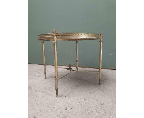 Round side tabel  brass and glass Hollywood Regency style