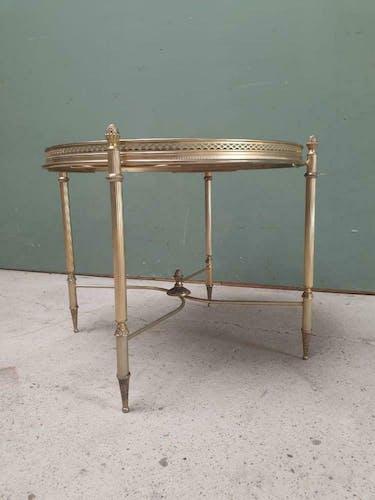 Table en laiton et verre style Hollywood Regency