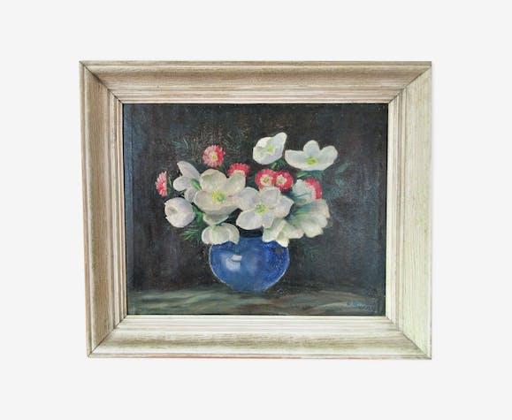 Tableau vintage bouquet de fleurs pâquerettes et renoncules