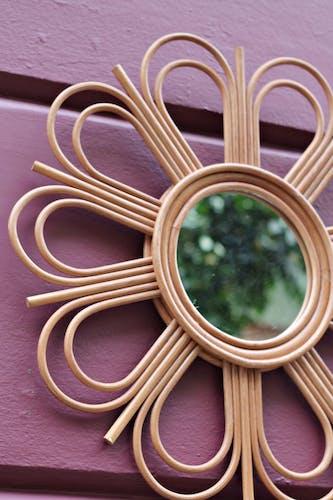 Miroir de soleil en bambou, années 1960