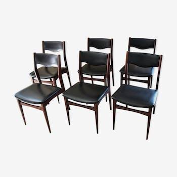 Lot de 6 chaises design scandinave en teck vintage