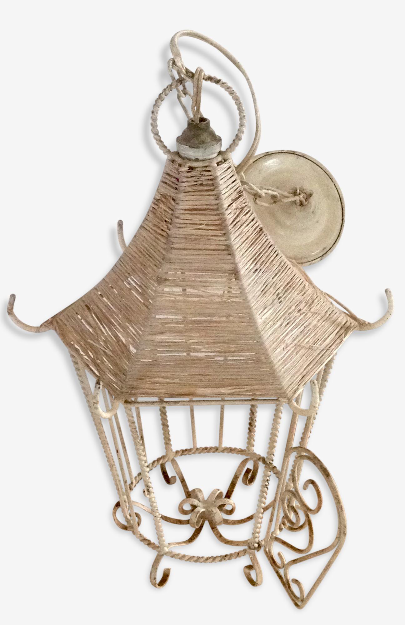 Luminaire/ plafonnier, cage en fer forgé blanchi années 50