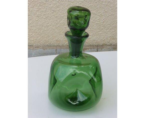 Carafe en verre verte 1970, avec son bouchon en verre