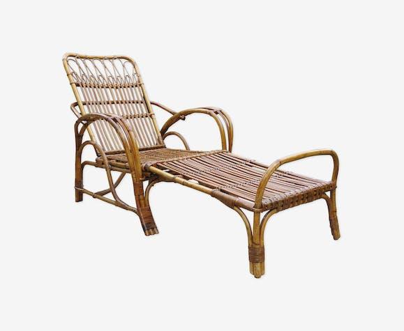 Chaise en rotin avec son tabouret 1920's