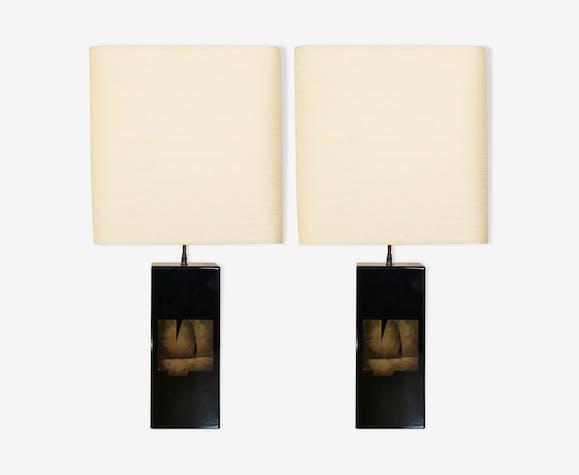 Paire de lampes laquées noires