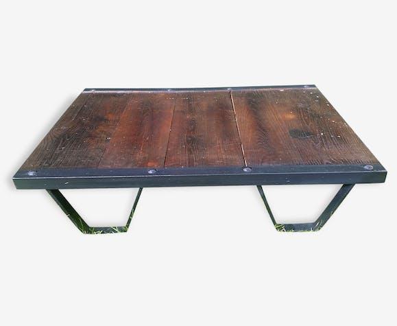 table basse palette industrielle sncf ann es 50 acier et. Black Bedroom Furniture Sets. Home Design Ideas