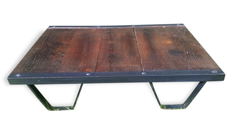Table Basse Palette Industrielle Sncf Ann Es 50 Acier Et Bois  # Meuble Vintage En Palette
