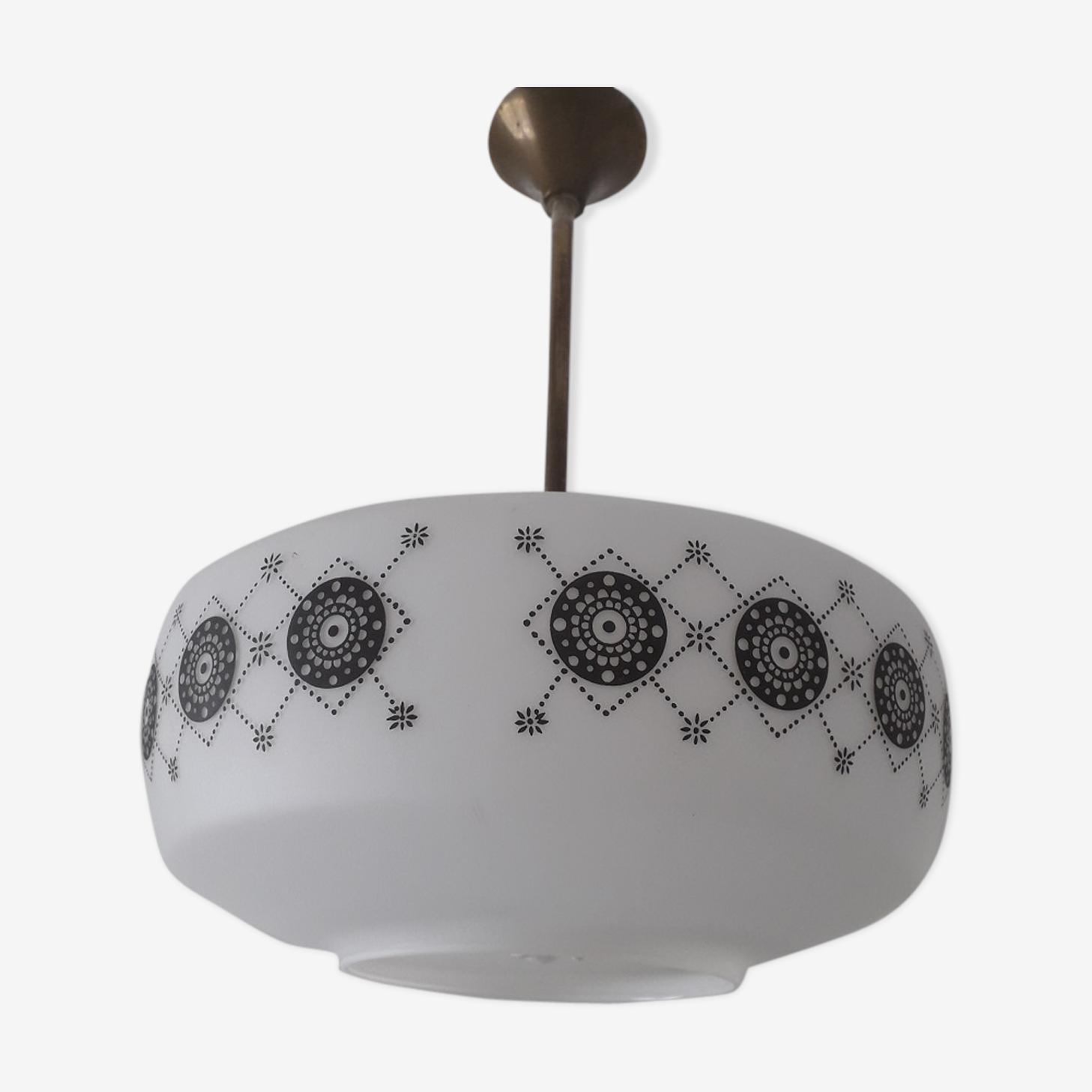 Pendant white opaline chandelier and design black motifs