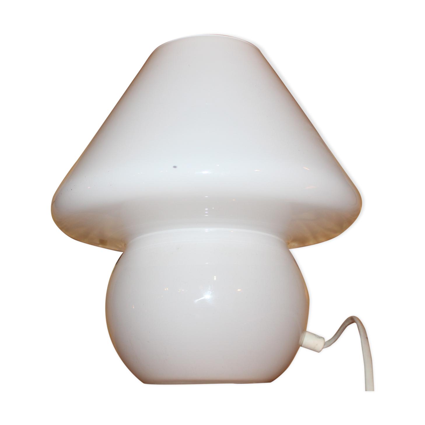 Lampe Champignon Vintage Murano Tout En Verre Blanc Opaline