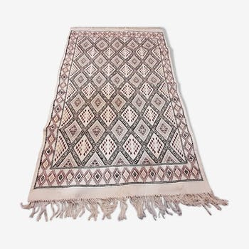 White Moroccan kilim carpet, handmade Berber wool rug