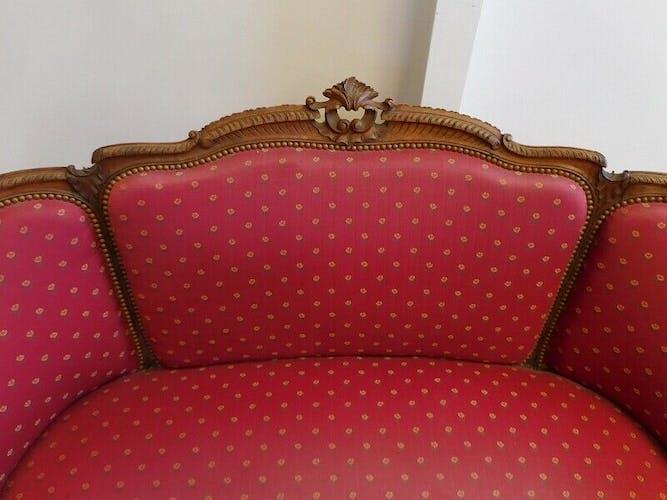 Banquette canapé 2 places Louis XV en noyer du XIX ème siècle