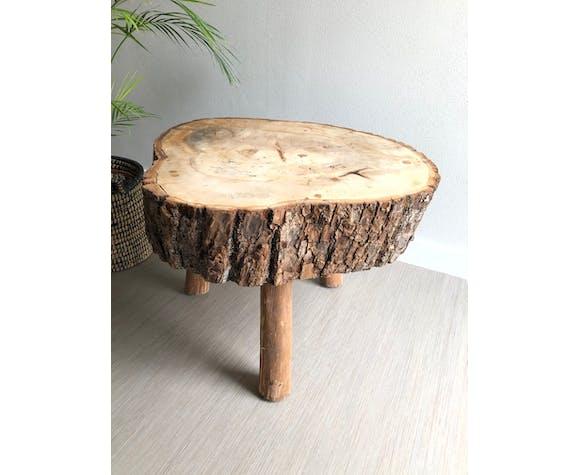 Table basse tripode tronc d'arbre