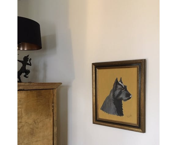 Portrait de westie noir sur toile