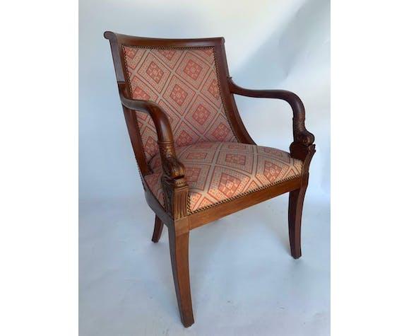 Paire de fauteuils à crosse acajou tete de dauphin 1900 tissu