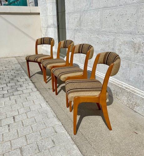Suite de 4 chaises vintage années 70