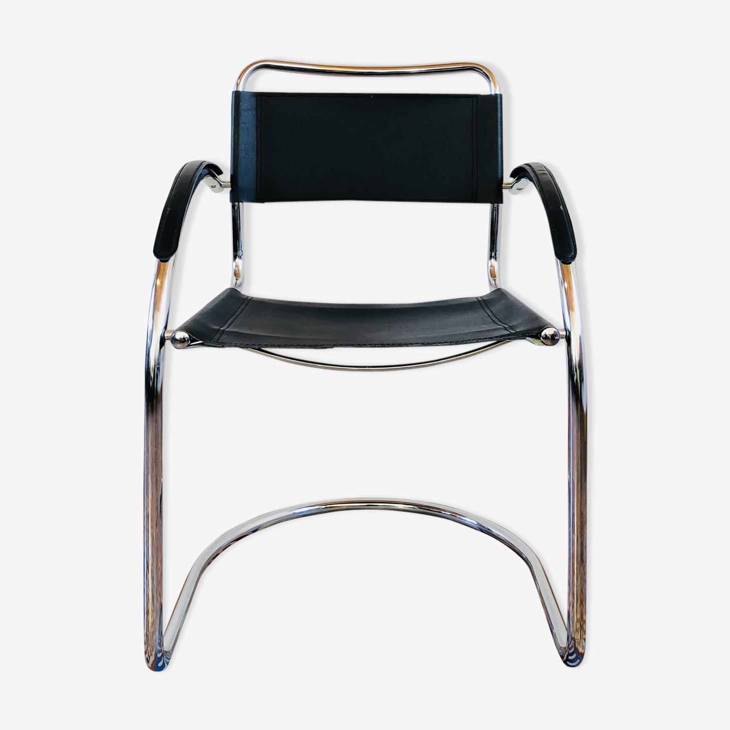 Italian leather and chrome chair
