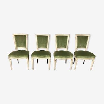 Set of 4 chairs louis XVI style Green Velvet