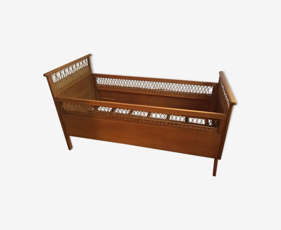 Rattan and wood child's bed