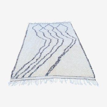 Tapis Beni Ouarain neuf en laine tissé a la main 190x300 cm