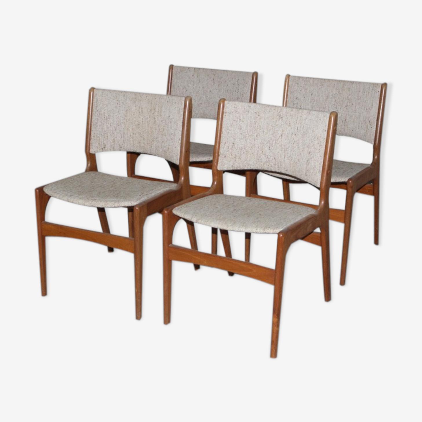 Set of 4 Scandinavian vintage teak chairs, model 89 by Erik Buch for Anderstrup Møbelfabrik, 1960 s, to restore