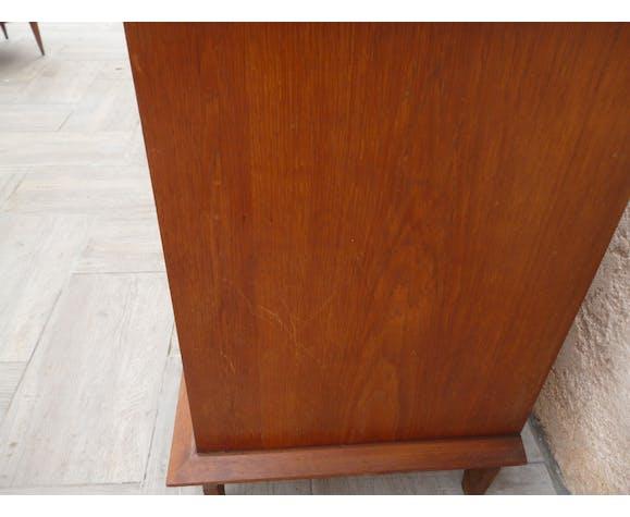 Commode chêne massif et plaquage vintage 3 tiroirs