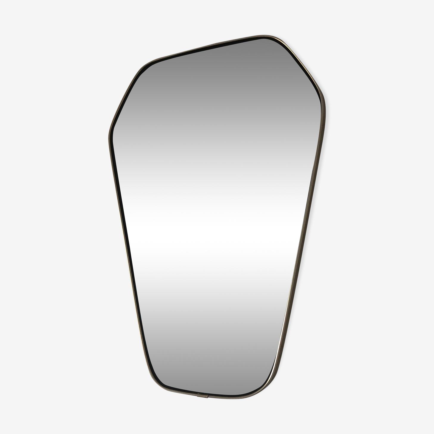 Miroir rétroviseur hexagonal 49x33cm vintage 1960
