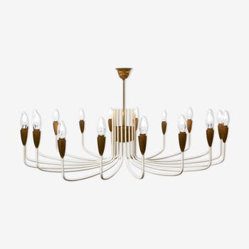 Italian large chandelier white with brass - 1950s