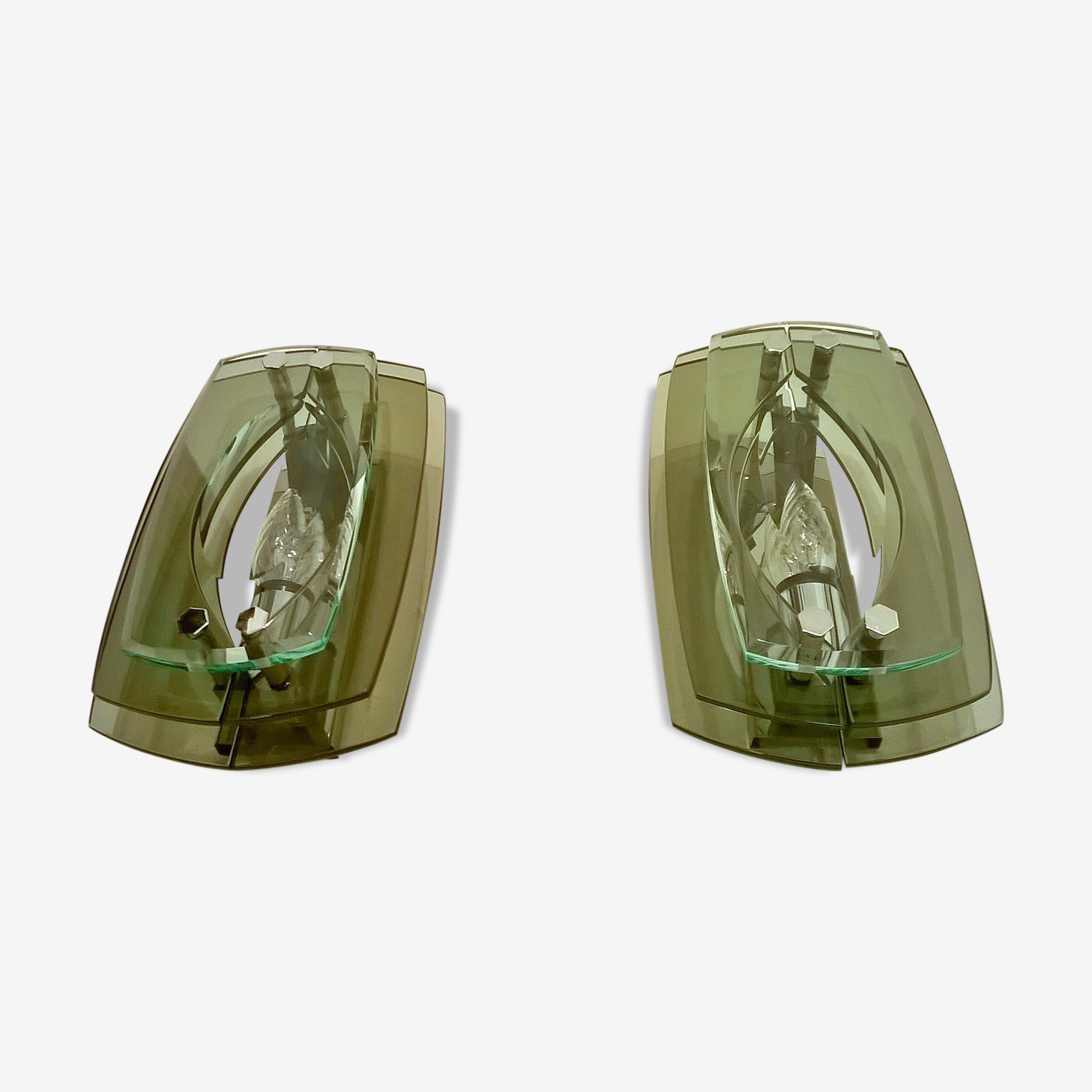 Set of 2 wall sconces glass Italy 1960 s