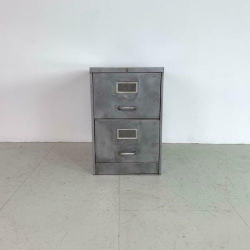 Classeur vintage industriel dépouillé métal 2 tiroir