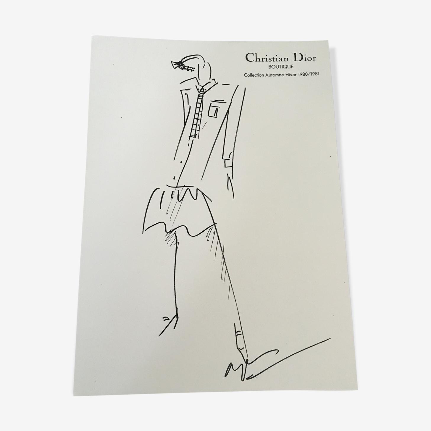 Christian Dior - illustration de mode de presse fin des années 70
